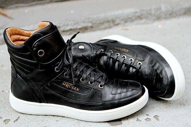 Alexander Mcqueen Black Leather Sneakers 1