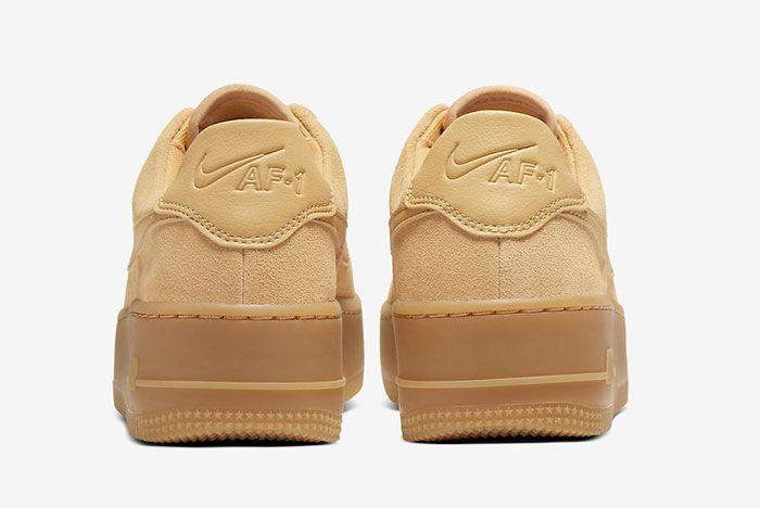 Nike Air Force 1 Sage Club Gold Suede Ct3432 700 Heel