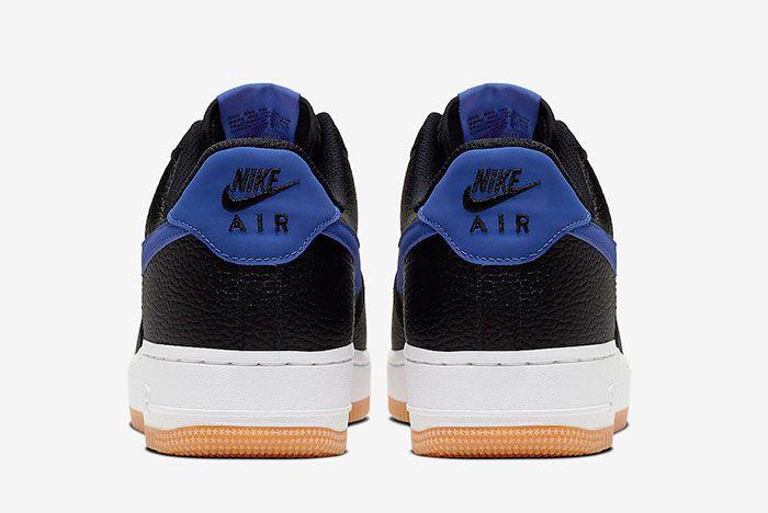 Nike Air Force 1 Black Game Royal Gum Ci0057 001 Heel