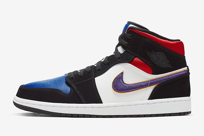 Air Jordan 1 Mid Se Field Purple White Gym Red 852542 005 Lateral
