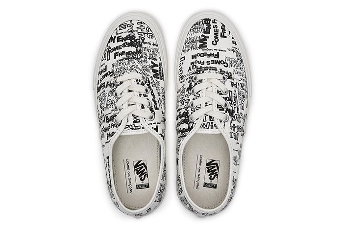 Cdg Vans Authentic White Black