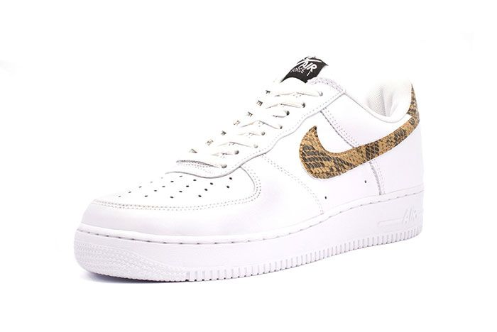 Nike Air Force 1 Low Premium Ivory Snake Three Quarter Lateral Side Shot