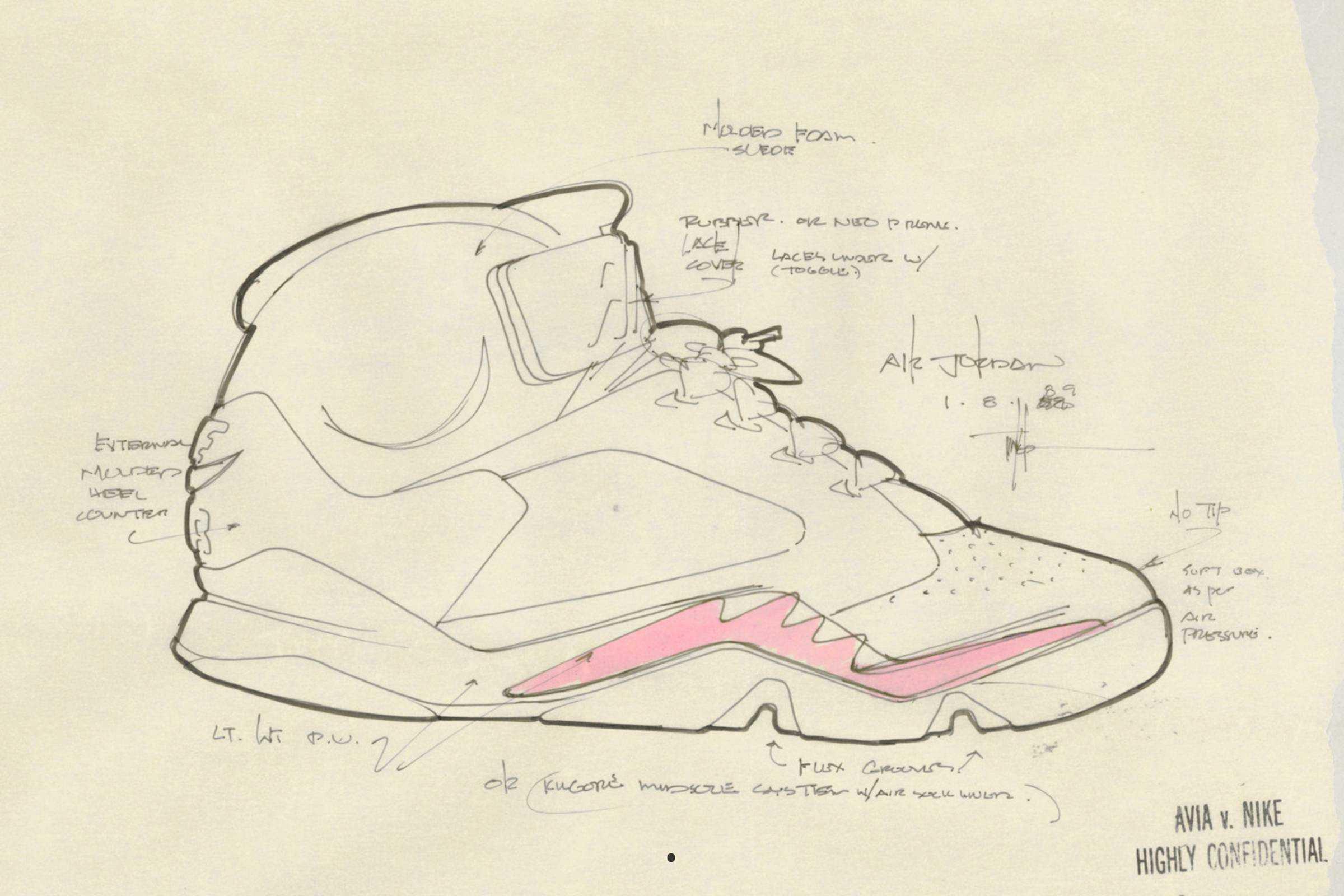 Jordan V Tinker Hatfield Sketch 1990