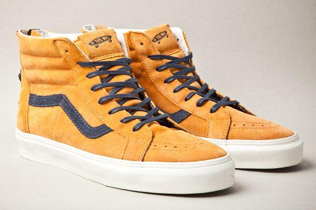 Vans Vault Sk8 Hi Zip Premium Inca Gold Pair 1