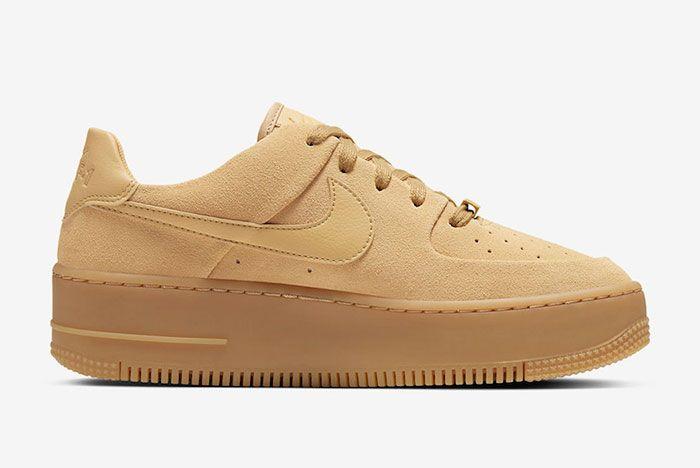 Nike Air Force 1 Sage Club Gold Suede Ct3432 700 Medial