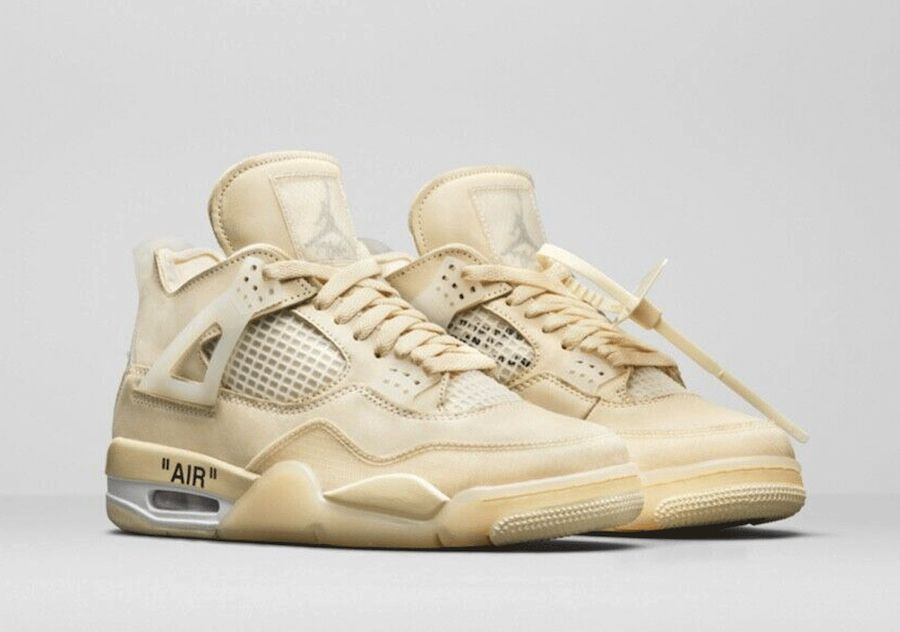 Off-White x Air Jordan 4 Sail Angled