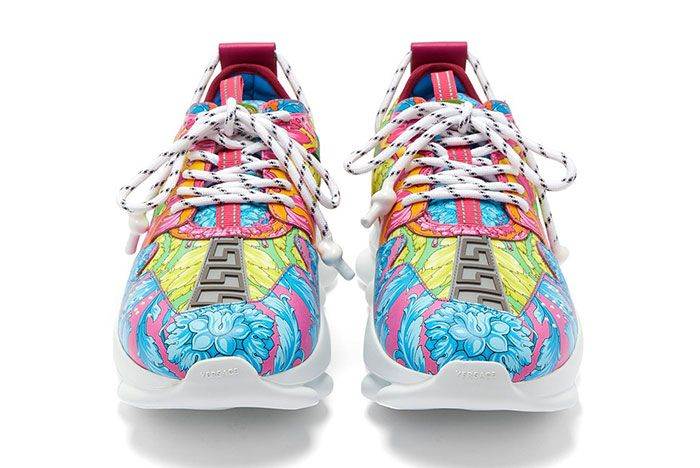 Versace Chain Reaction Baroque Print Sneakers Front Shot