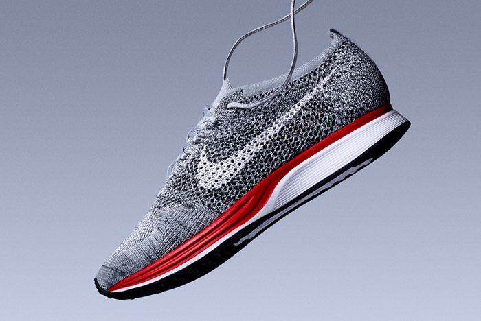 Nike Flyknit Racer Wolf Grey Red Feature