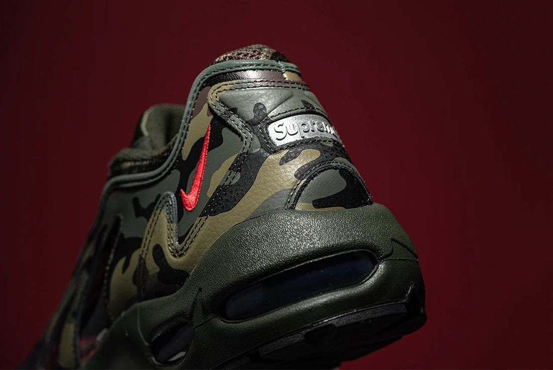 supreme x nike air max 96 camo up close