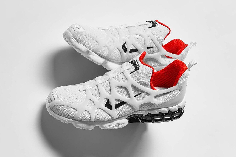 Stussy x Nike Air Zoom Spiridon Kukini 'White/Habanero Red'