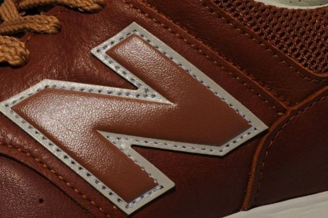 New Balance 576 Premium Leather Brown Logo Detail 1