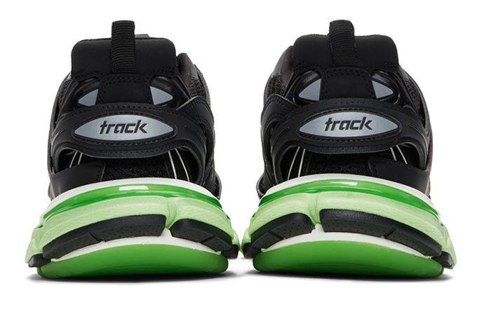 Balenciaga Track Sneaker Black Neon Green Heel Shot