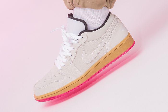 Air Jordan 1 Low Hype Pink 553558 119 Left Side Single Angle