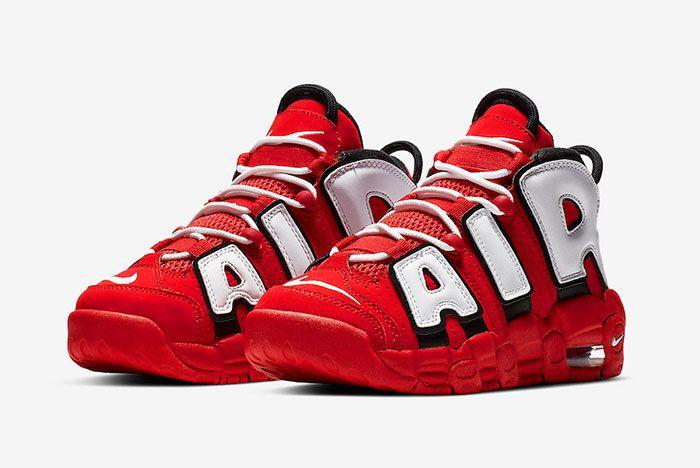 Nike More Uptempo Red White Black Chicago Bulls Cd9402 600 Front Angle Shot 6