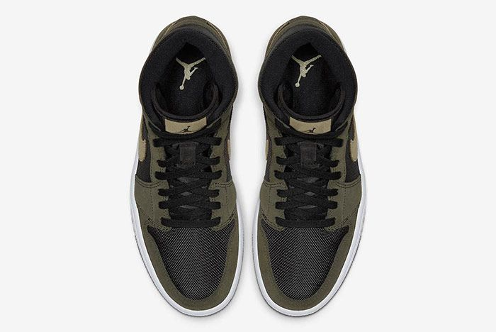 Air Jordan 1 Mid Military Olive Green Top