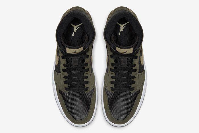 Air Jordan 1 Mid Military Olive Green Top