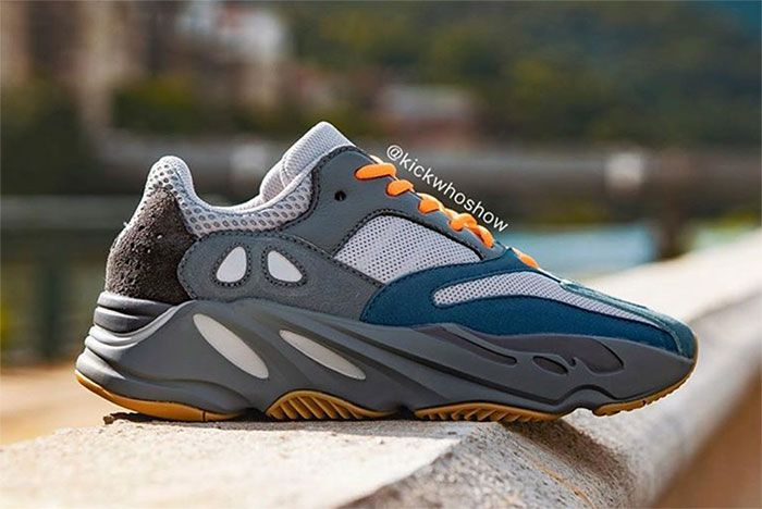 Adidas Yeezy Boost 700 Teal Blue On Foot Right 4