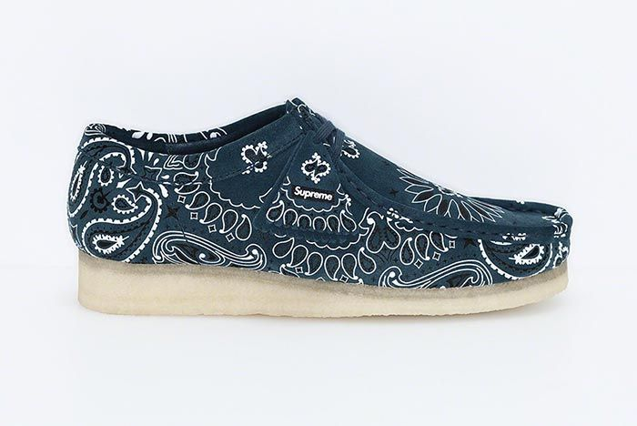 Supreme Clarks Originals Summer Wallabee Navy Lateral Side Shot