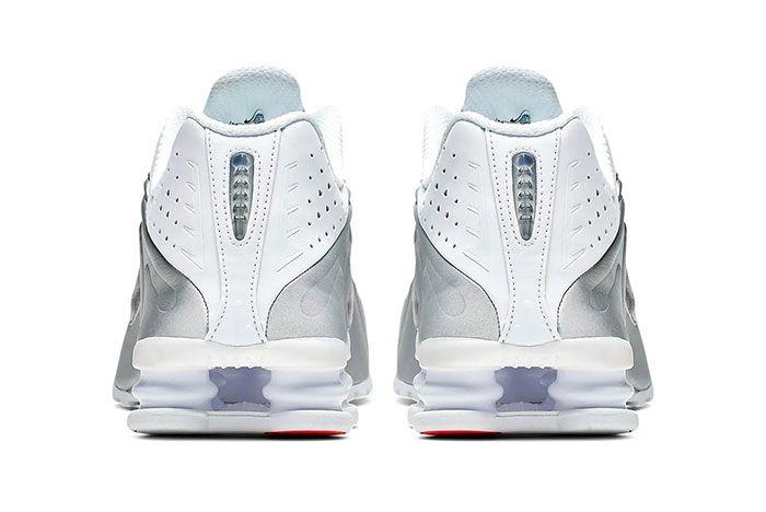 Nike Shox R4 White Metallic Silver Bright Crimson Metallic Silver Heel Shot 2