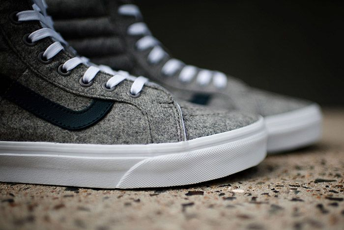 Vans Sk8 High Reissue Varsity Grey Wool Flannel 7