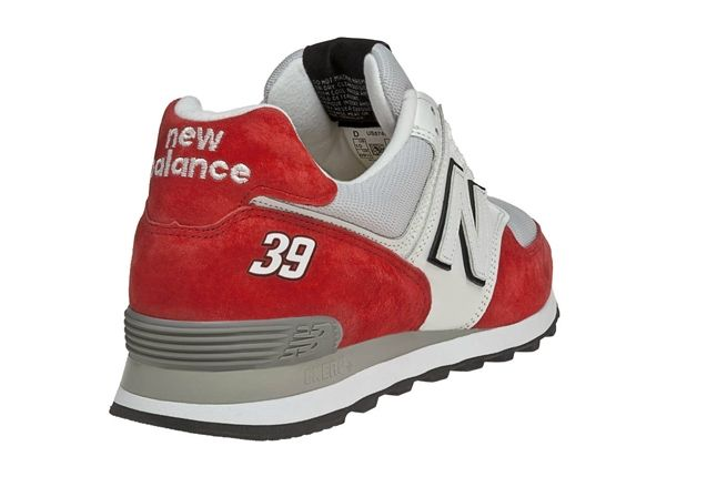 New Balance Race Inspired 574 Red And Grey Heel 1
