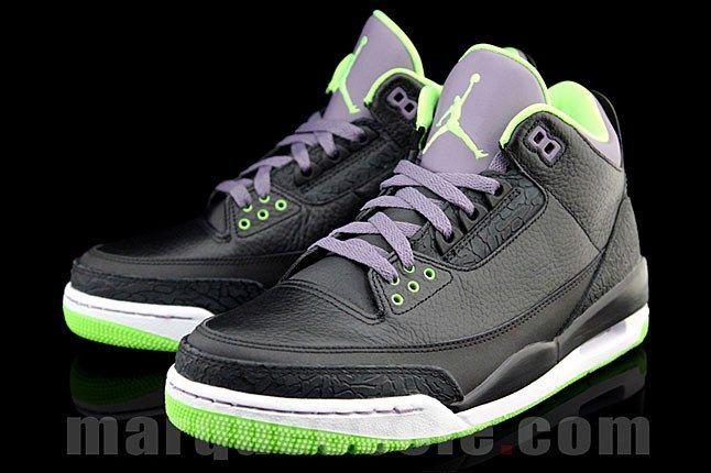 Air Jordan Three Black Green Purple 1