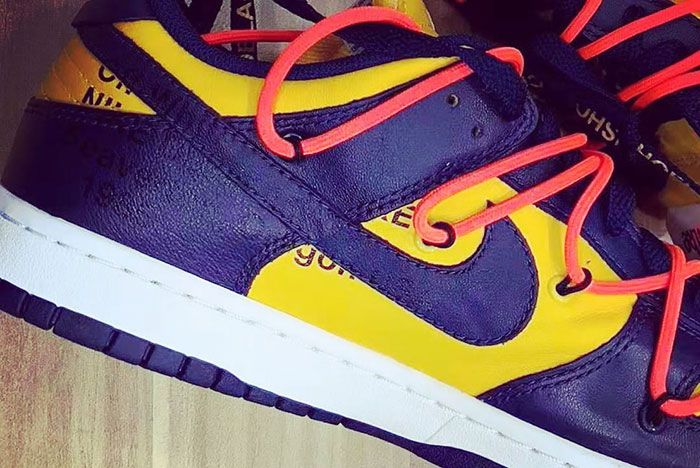 Off White Nike Dunk Low University Gold Midnight Navy Ct0856 700     Release Date 2 Up Close