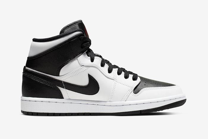 Air Jordan 1 Mid White Black Red Medial