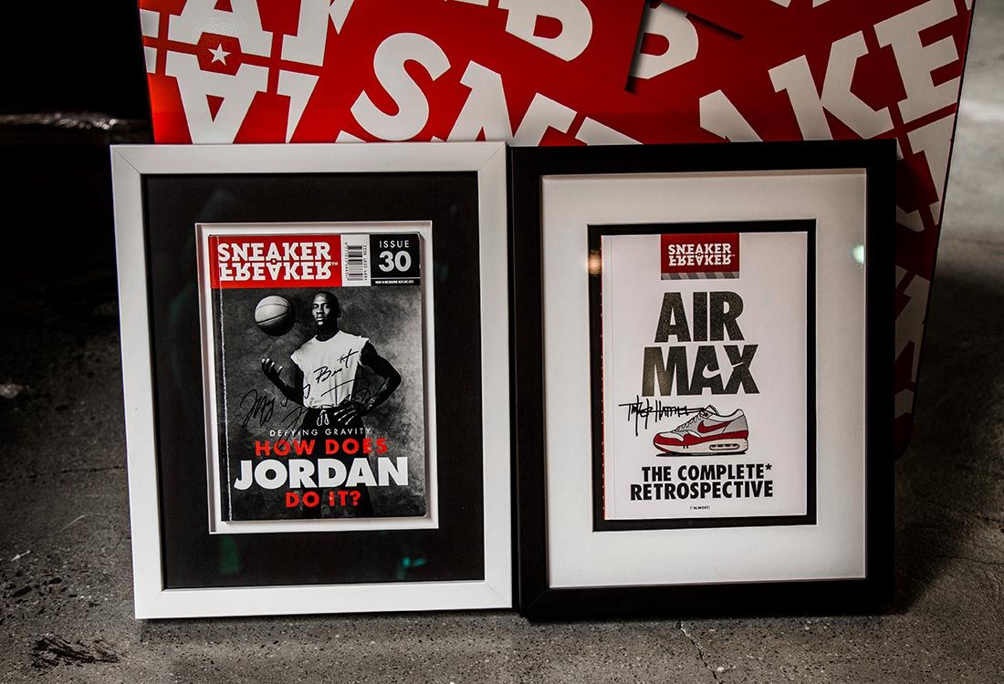 Two framed signed Sneaker Freaker covers