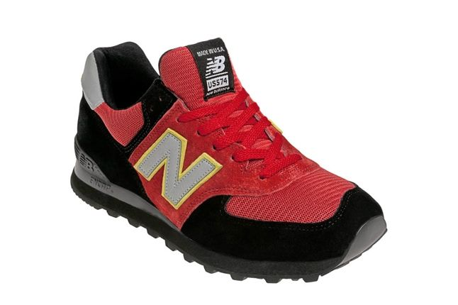 New Balance Race Inspired 574 Red And Black Angle 1
