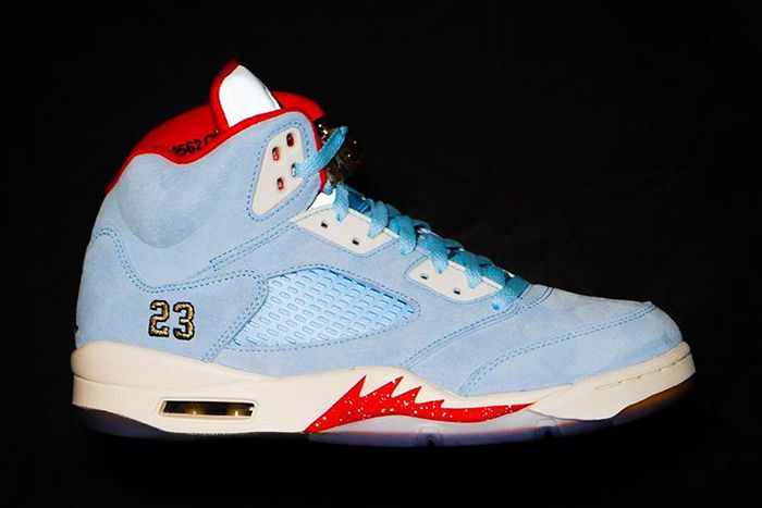 Trophy Room Air Jordan 5 Collaboration Official Release Date Blue Lateral