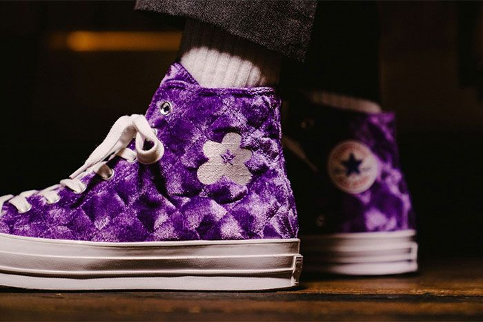 Golf Le Fleur Converse Chuck 70 Quilted Purple On Feet Close Up Left Side View