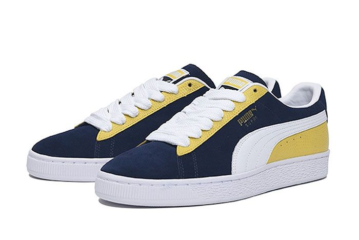 Billys Tokyo Puma Suede Classic Two Toned Navy Front Angle