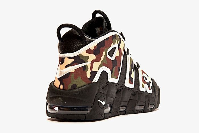 Nike Air More Uptempo Black Camo Heel