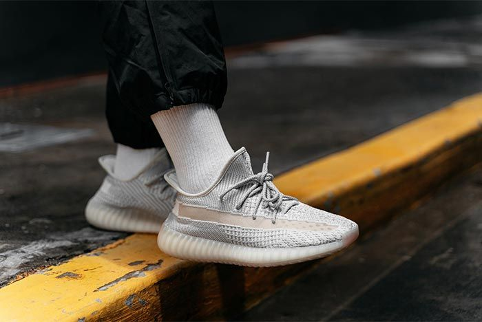 Adidas Yeezy Boost 350 V2 Reflective Lundmark On Foot Front Angle Shot