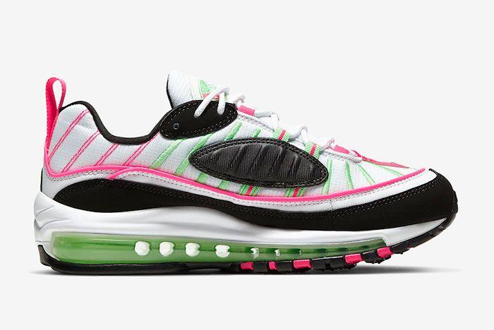 Nike Air Max 98 White Pink Volt Ci3709 101 Medial Side Shot