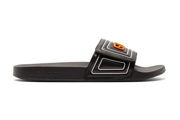 Gucci Gg Cut Out Logo Leather Rubber Slides Yellow Lateral Side Shot