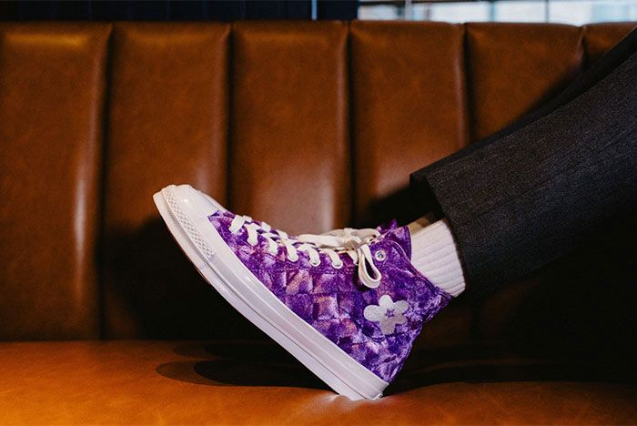 Golf Le Fleur Converse All Star Quilted Purple On Feet Chuck 70 Left Side View