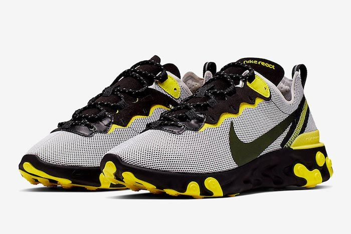 Nike React Element 55 Dynamic Yellow Ck1686 001 Three Quarter Angle Side Shot