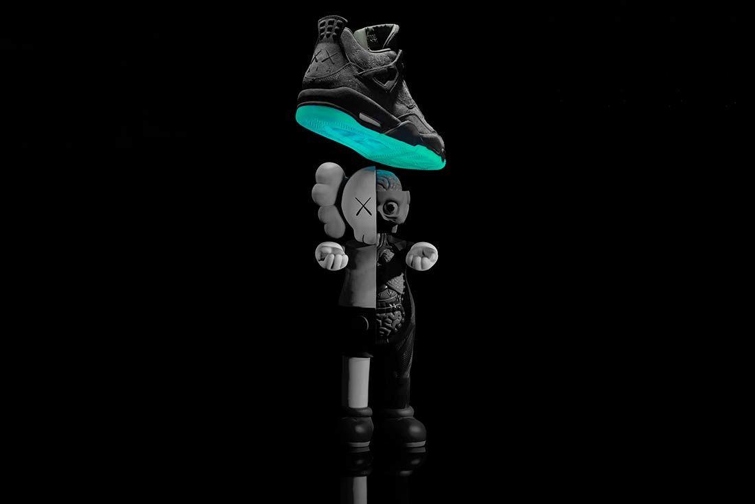 Kaws X Air Jordan 4 Glow In Action12