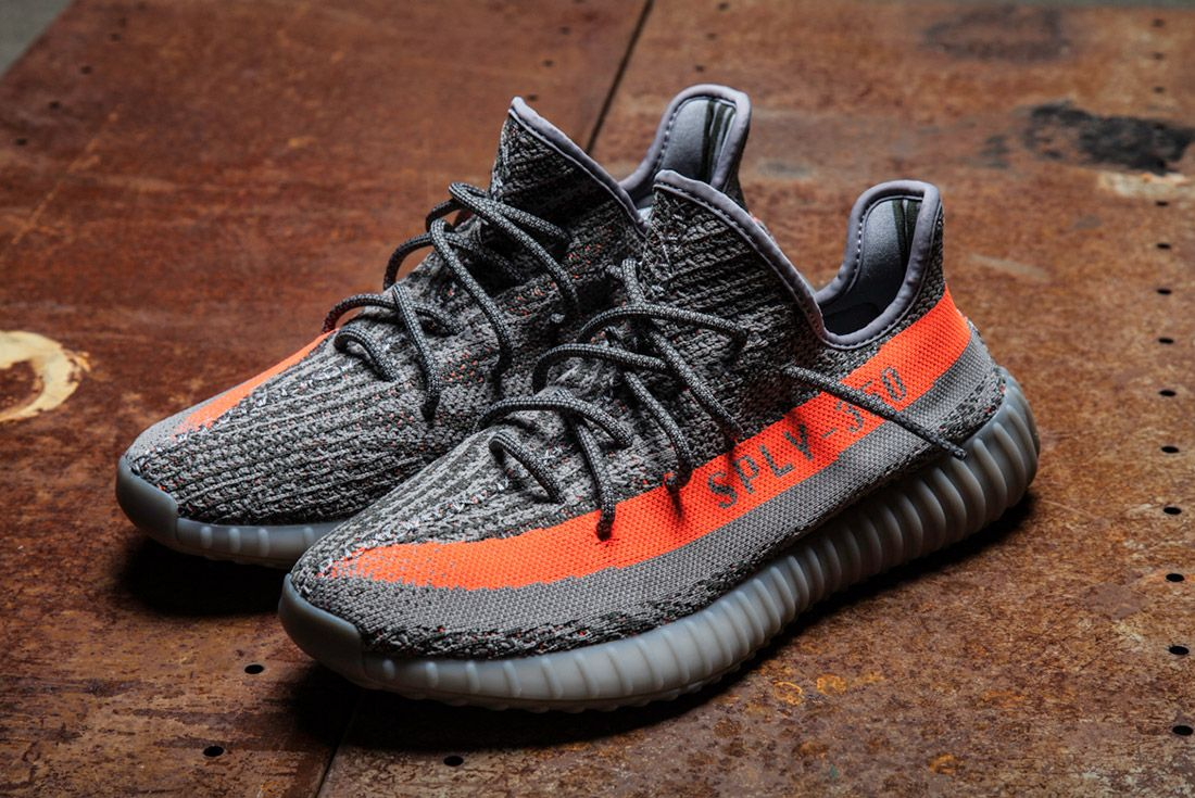 Adidas Yeezy 350 V2 Beluga Grey Orange Close Up 1