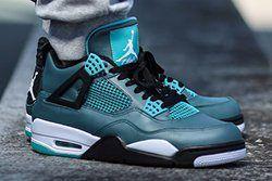 Air Jordan 4 Teal On Foot Thumb