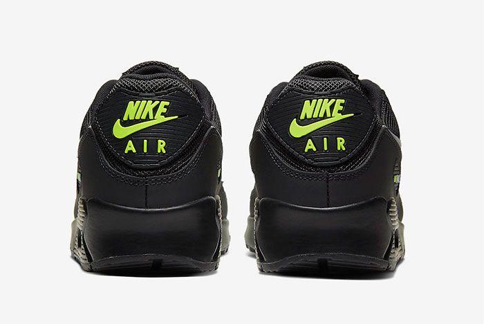 Nike Air Max 90 Black Volt Heel