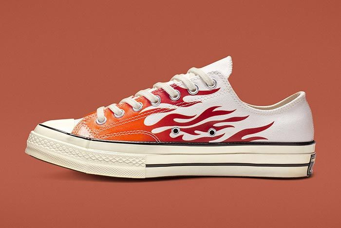 Converse Chuck 70 Flames White Low Lateral Side Shot