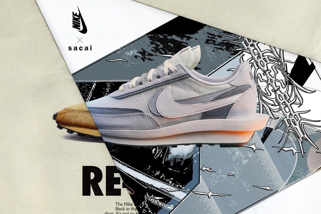 Sacai Nike Ldv Waffle Daybreak Grey Lateral Side Shot