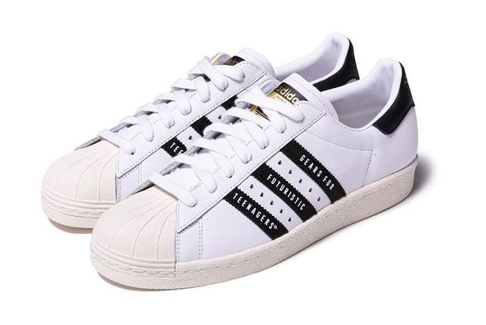 Human Made Adidas Superstar White Black Front Angle