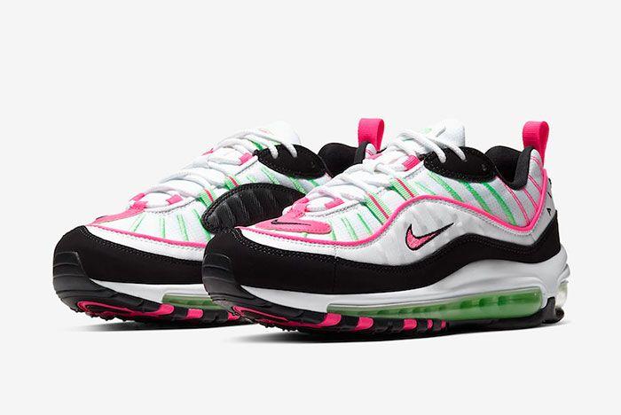 Nike Air Max 98 White Pink Volt Ci3709 101 Three Quarter Lateral Side Shot