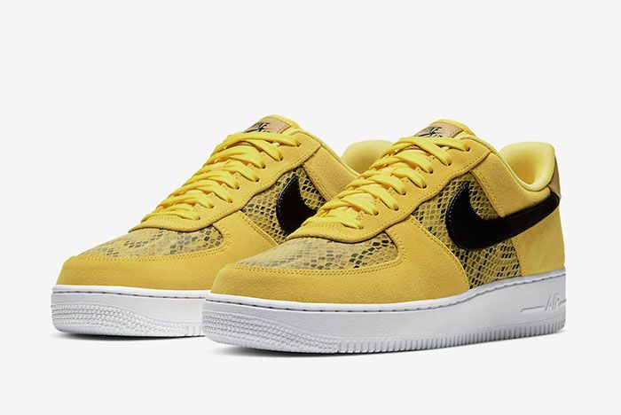 Nike Air Force 1 Low Yellow Snakeskin Bq4424 700 Front Angle