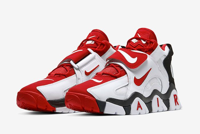 Nike Air Barrage Mid White Red At7847 102 Front Angle