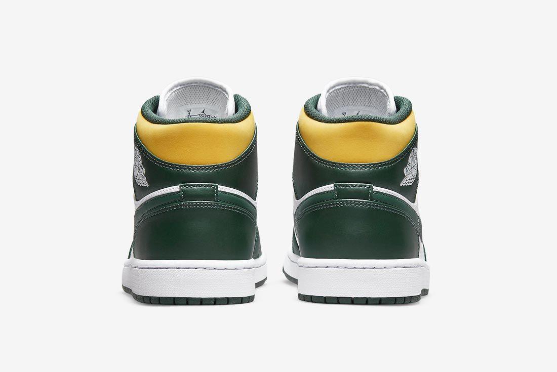 Air Jordan 1 Mid Green/Yellow/White